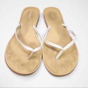 Express White Thong Sandals with wood looking sole